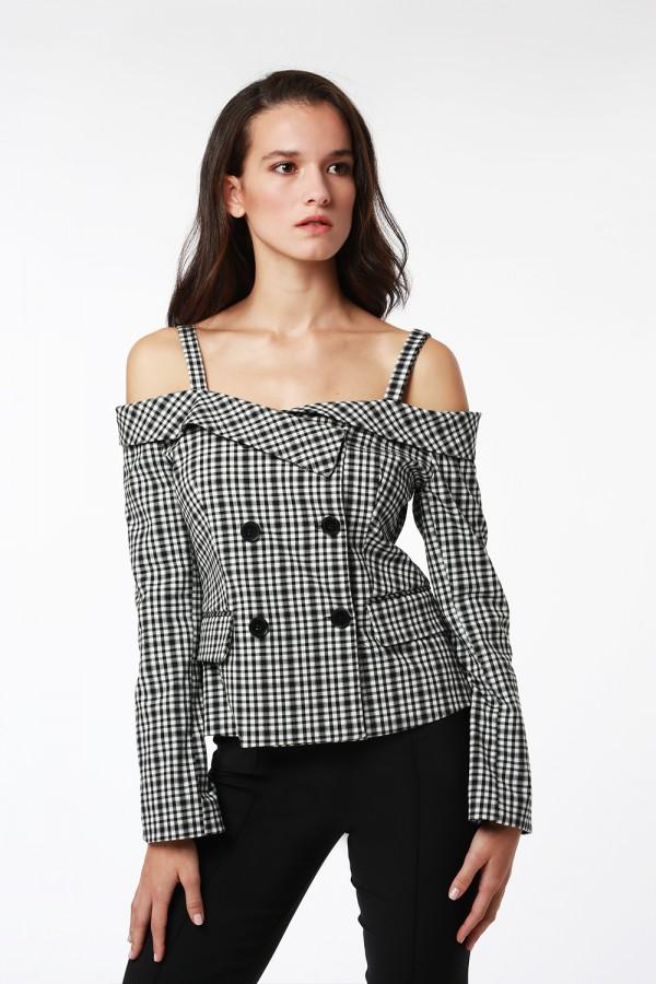 Siyah Beyaz Pötikare Ceket