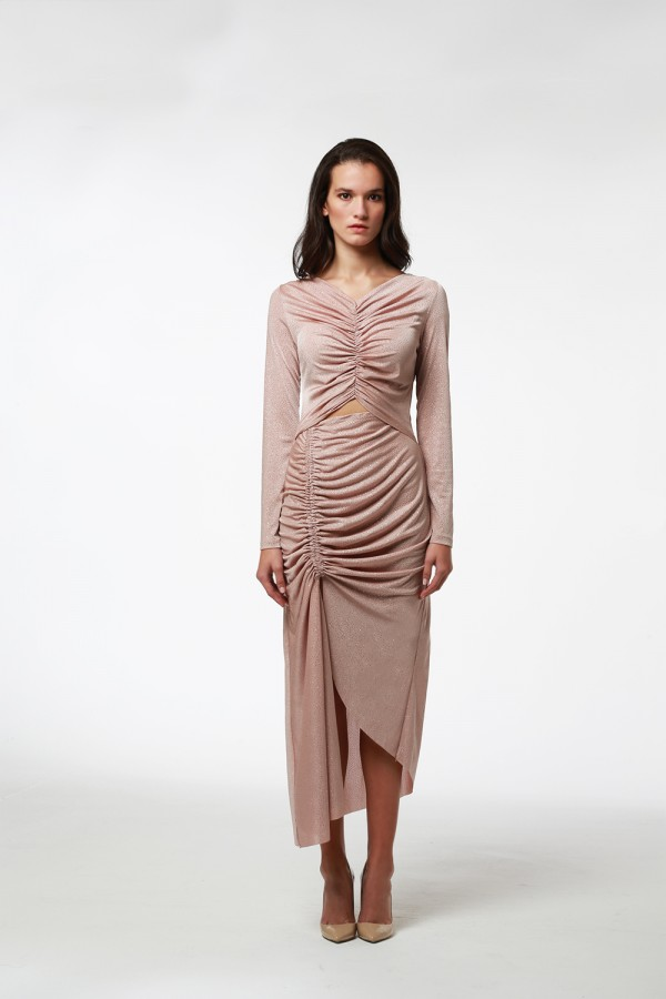 Pudra Büzgü Detaylı Işıltılı Elbise