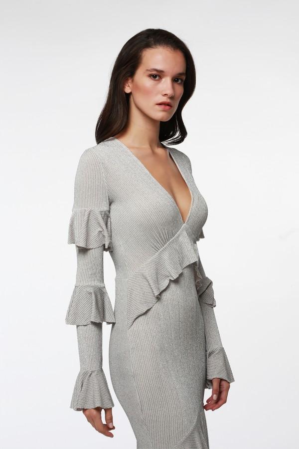 Gümüş Volanlı Uzun Elbise