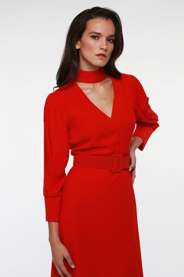 Kırmızı Balon Kol Asimetrik Elbise
