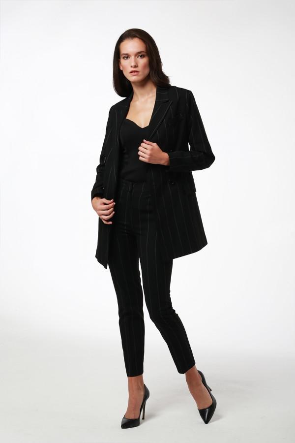 Siyah Beyaz Çizgili Cigarette Pantolon