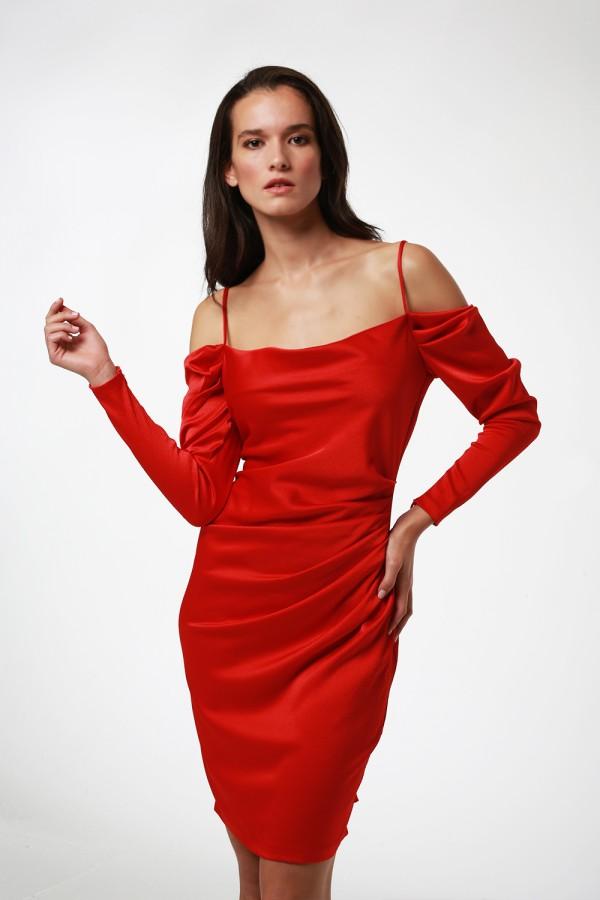 Kırmızı Drape Detaylı Elbise