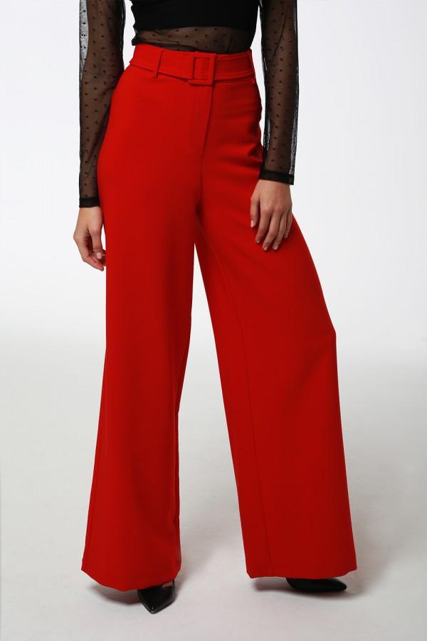 Kırmızı Kemerli Bol Paça Pantolon