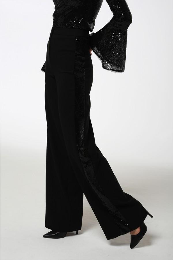 Siyah Payet Şeritli Bol Paça Pantolon