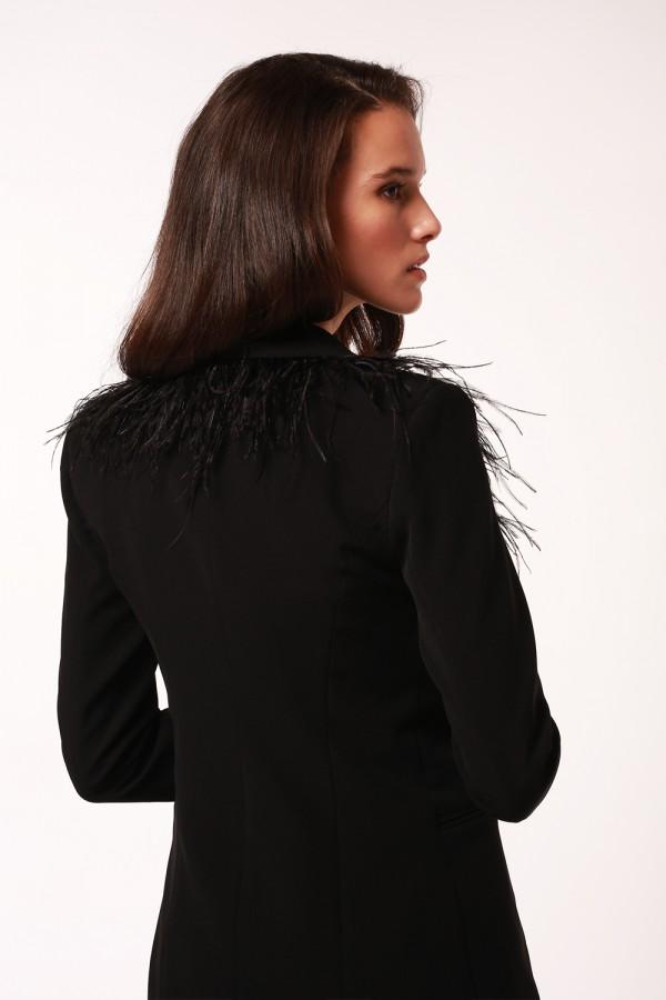 Siyah Tüy Detaylı Ceket