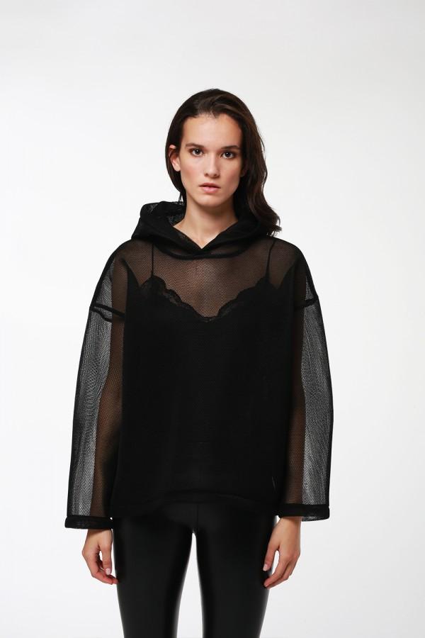 Siyah File Sweatshirt