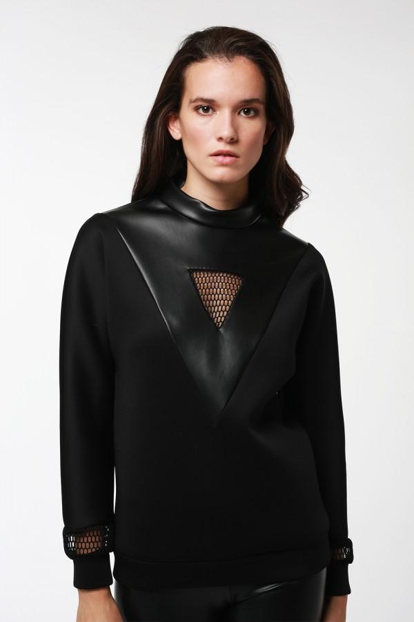 Siyah File Deri Detaylı Sweatshirt
