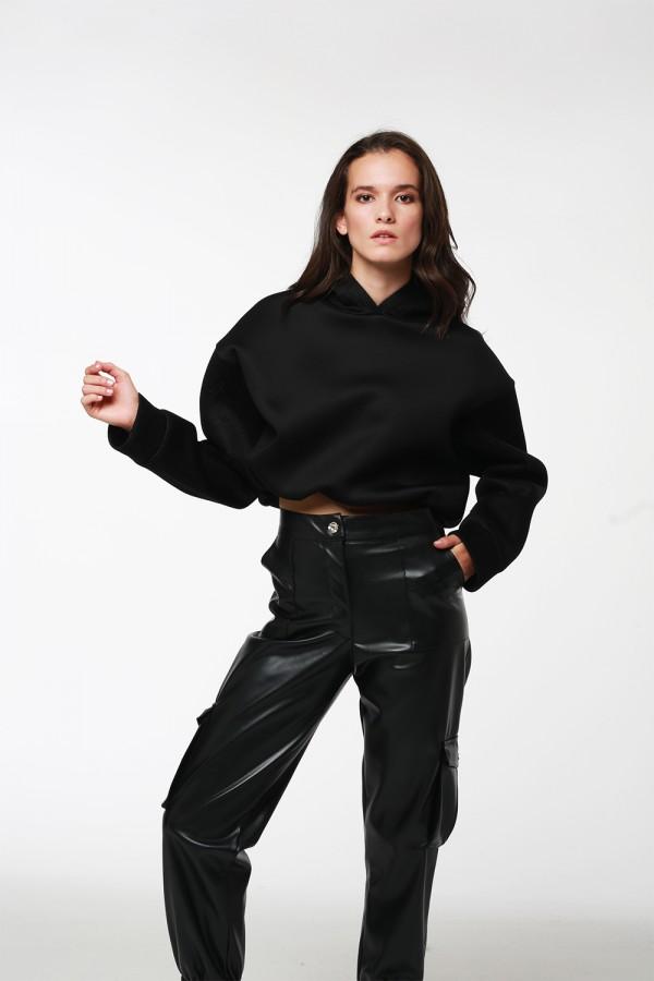 Siyah Kolları Fileli Beli Lastikli Sweatshirt