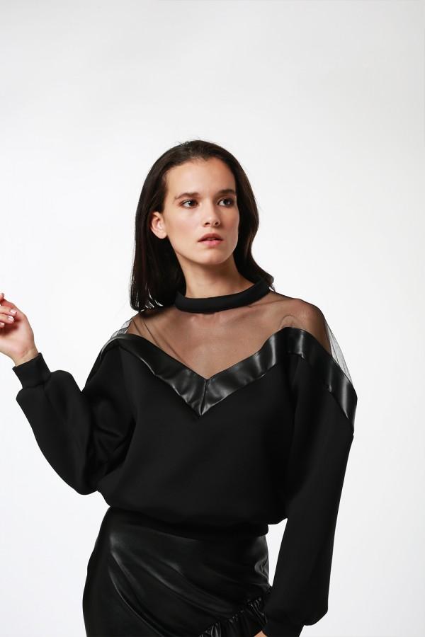 Siyah Tül Detaylı Sweatshirt