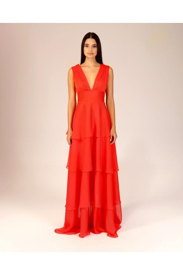 Kırmızı Drape Detaylı Volanlı Elbise