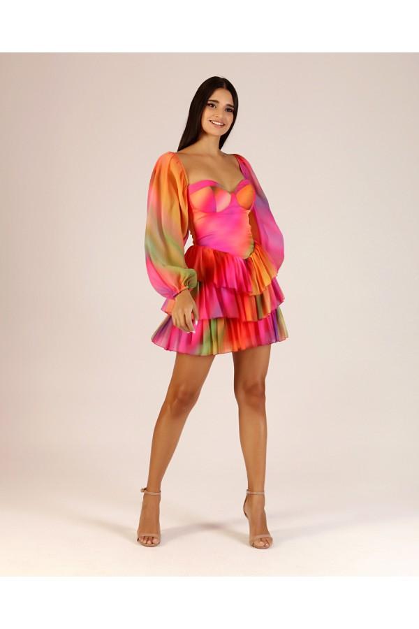 Renkli Balon Kol Elbise
