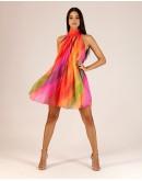 Renkli Sırtı Açık Elbise