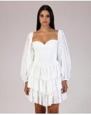 Beyaz Yıldız Desenli Balon Kol Elbise