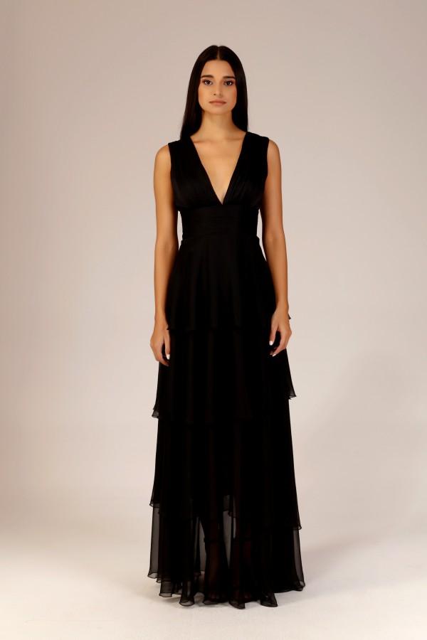 Siyah Drape Detaylı Volanlı Elbise