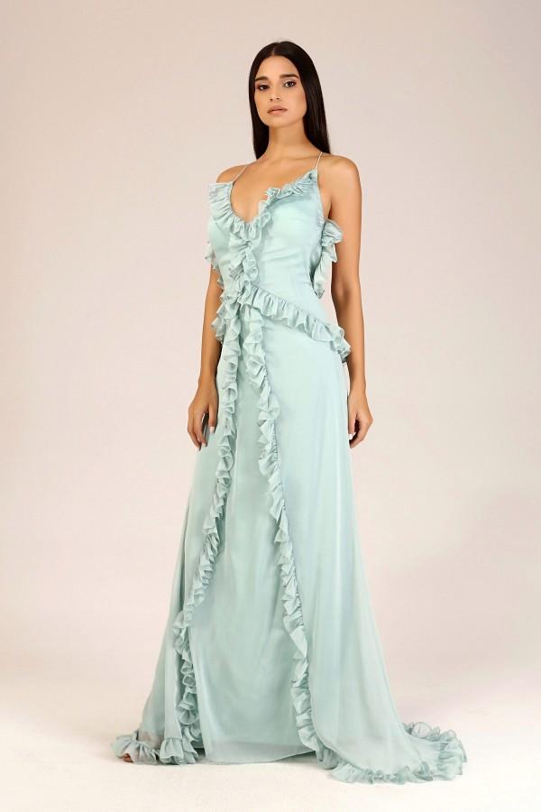 Mint Sırtı Açık Fırfırlı Elbise