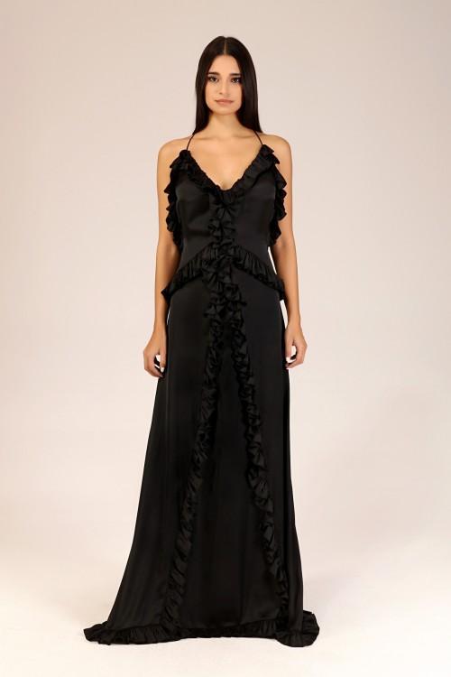 Siyah Sırtı Açık Fırfırlı Elbise
