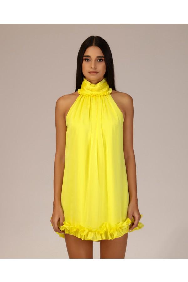 Sarı Dik Yaka Fırfırlı Elbise