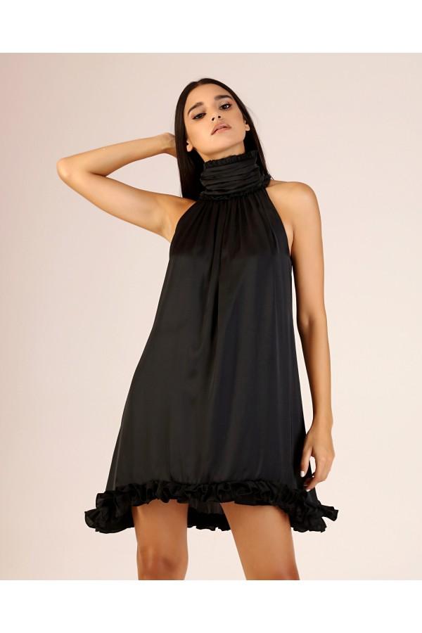 Siyah Dik Yaka Fırfırlı Elbise