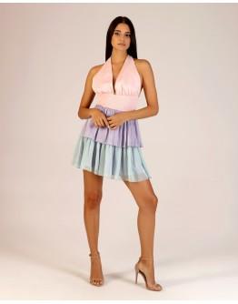 Üç Renkli Gipeli Elbise