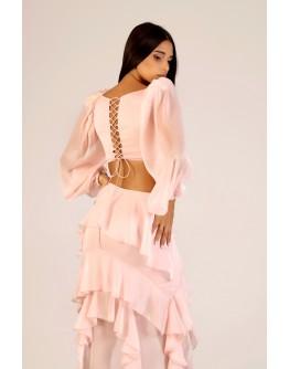 Pudra Bel Detaylı Fırfırlı Elbise