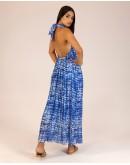 Mavi Boyundan Bağlamalı Sırtı Açık Elbise