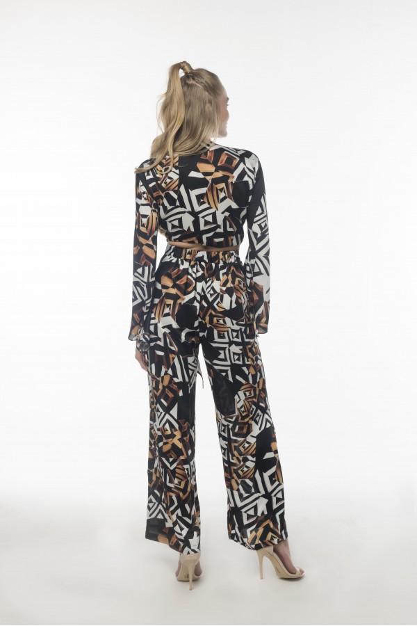 Geometrik Desenli Pantolon