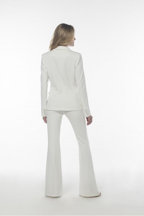 İnci  Düğmeli Beyaz Ceket