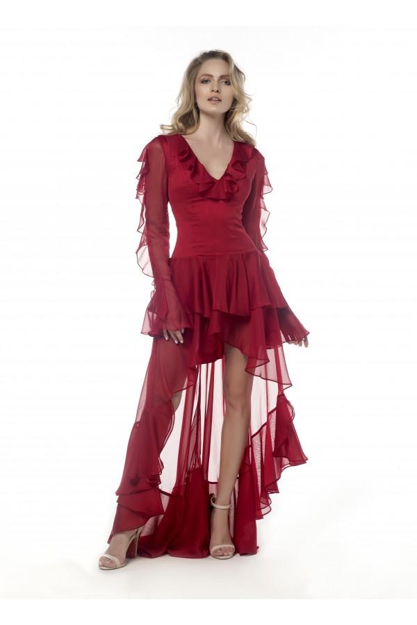 Kırmızı Volanlı Kuyruklu Elbise