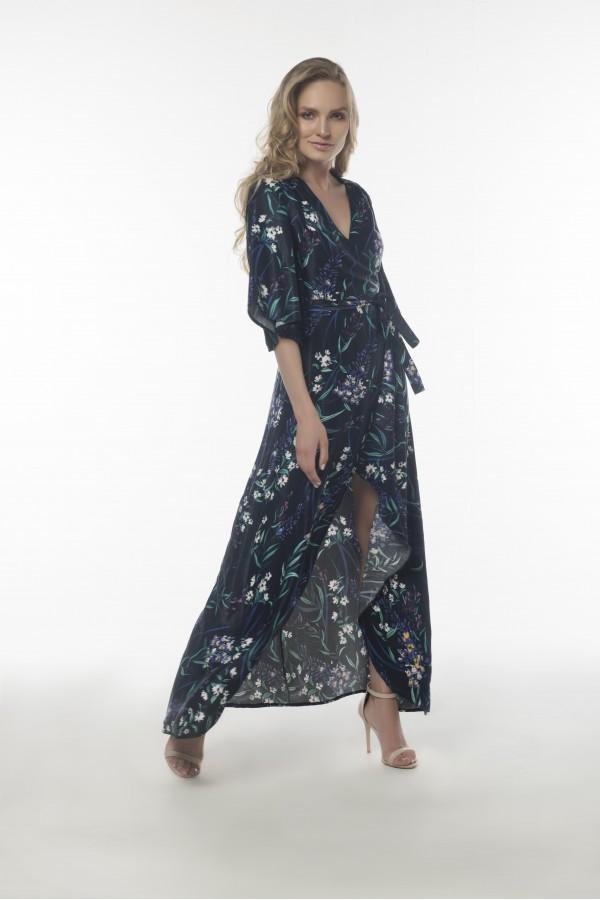 Lacivert Çiçekli Kimono Elbise