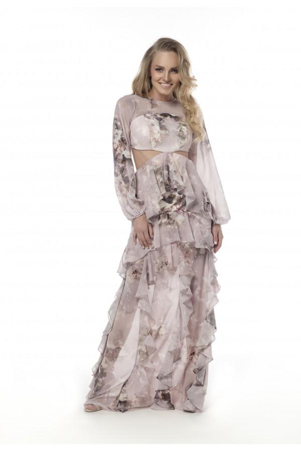 Lila Volan Detaylı Beli Açık Elbise