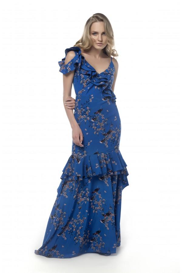 Mavi Çiçekli Volanlı Elbise