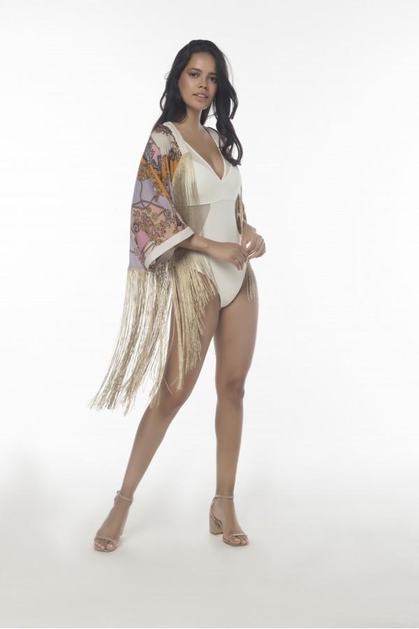 Şal Desenli Püsküllü Kimono