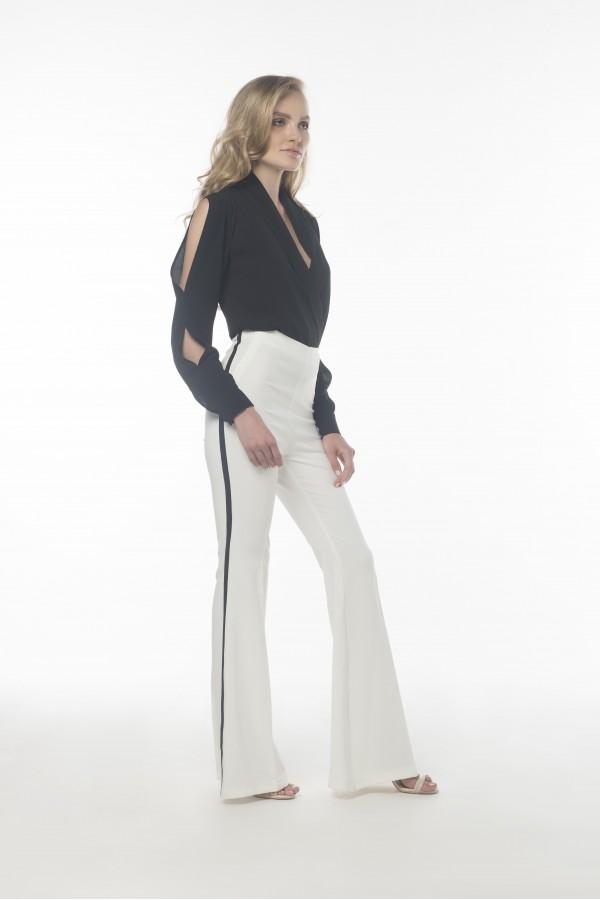 Siyah Şeritli Beyaz Pantolon