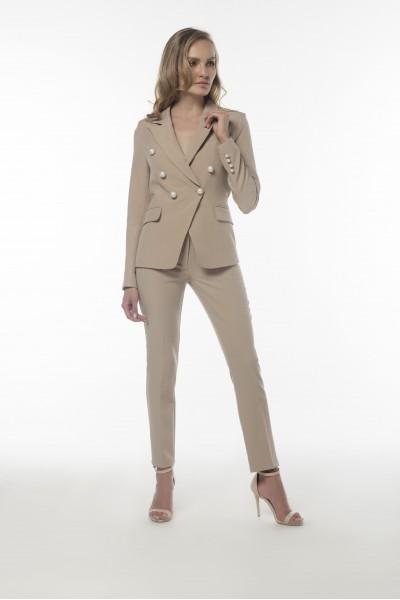 İnci Düğmeli Taş Rengi Ceket