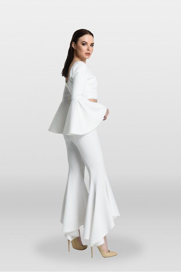 Beyaz Volanlı Pantolon