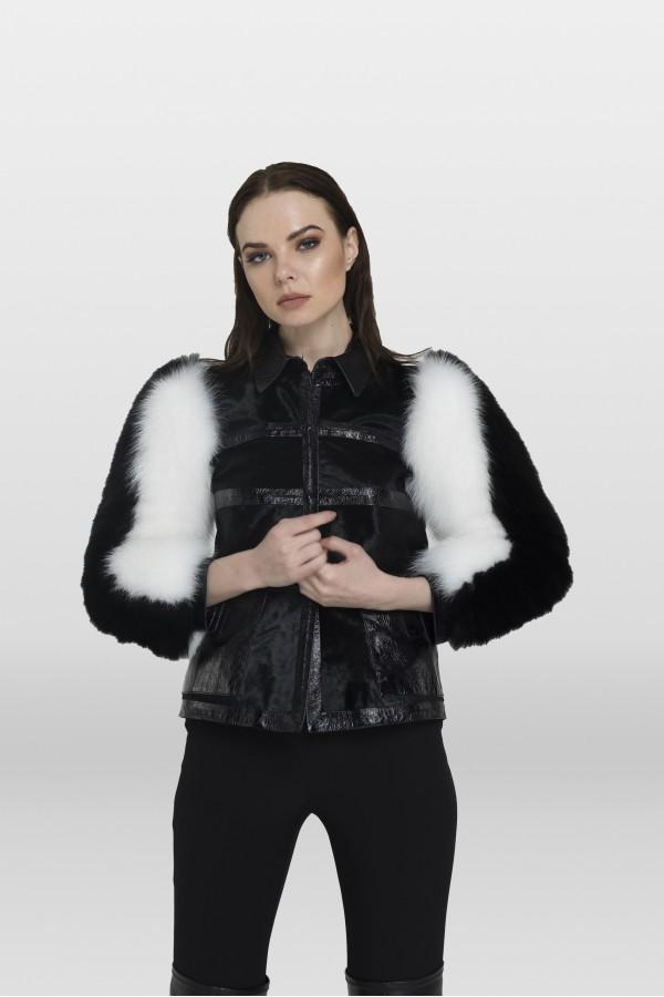 Siyah Beyaz Deri Ceket