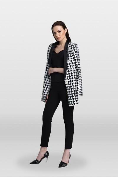 Siyah Beyaz Desenli Payet Ceket