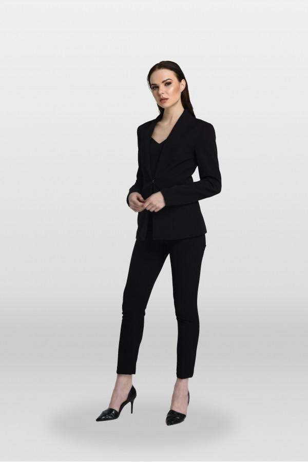 Siyah Lazer Kesim Ceket