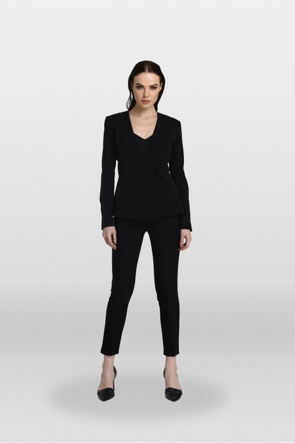 Siyah Tek Düğmeli Ceket