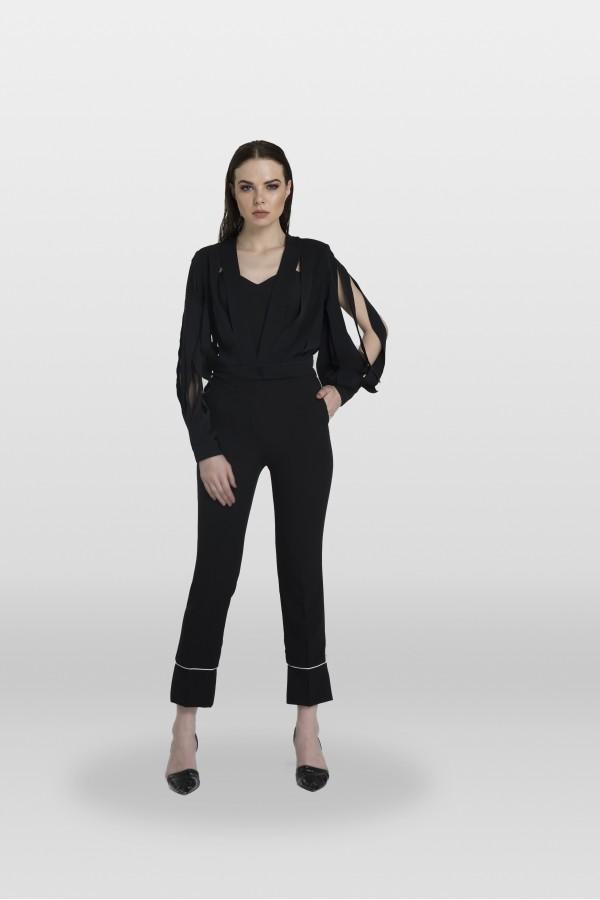 Siyah Lazer Kesim Bluz Ceket