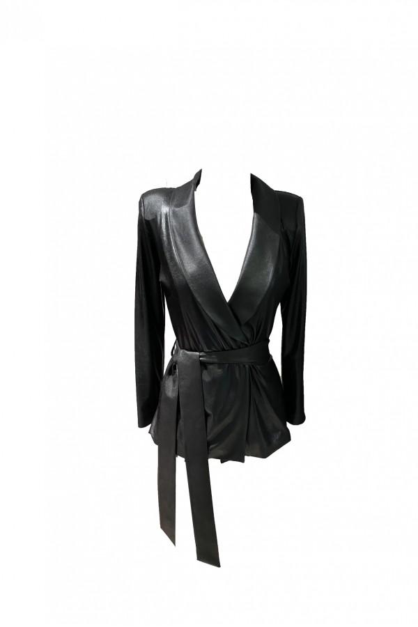 Siyah Parlak Kuşaklı Ceket