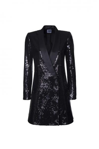 Siyah Payet Ceket Elbise