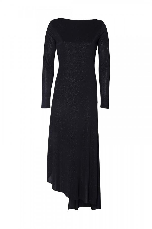 Siyah Büzgü Detaylı Işıltılı Elbise