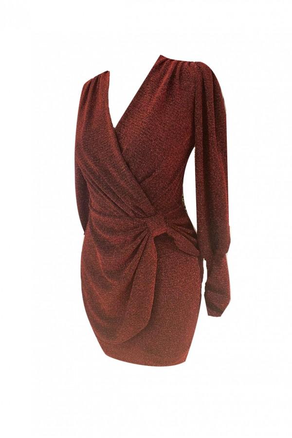 Kırmızı Simli Anvelop Elbise